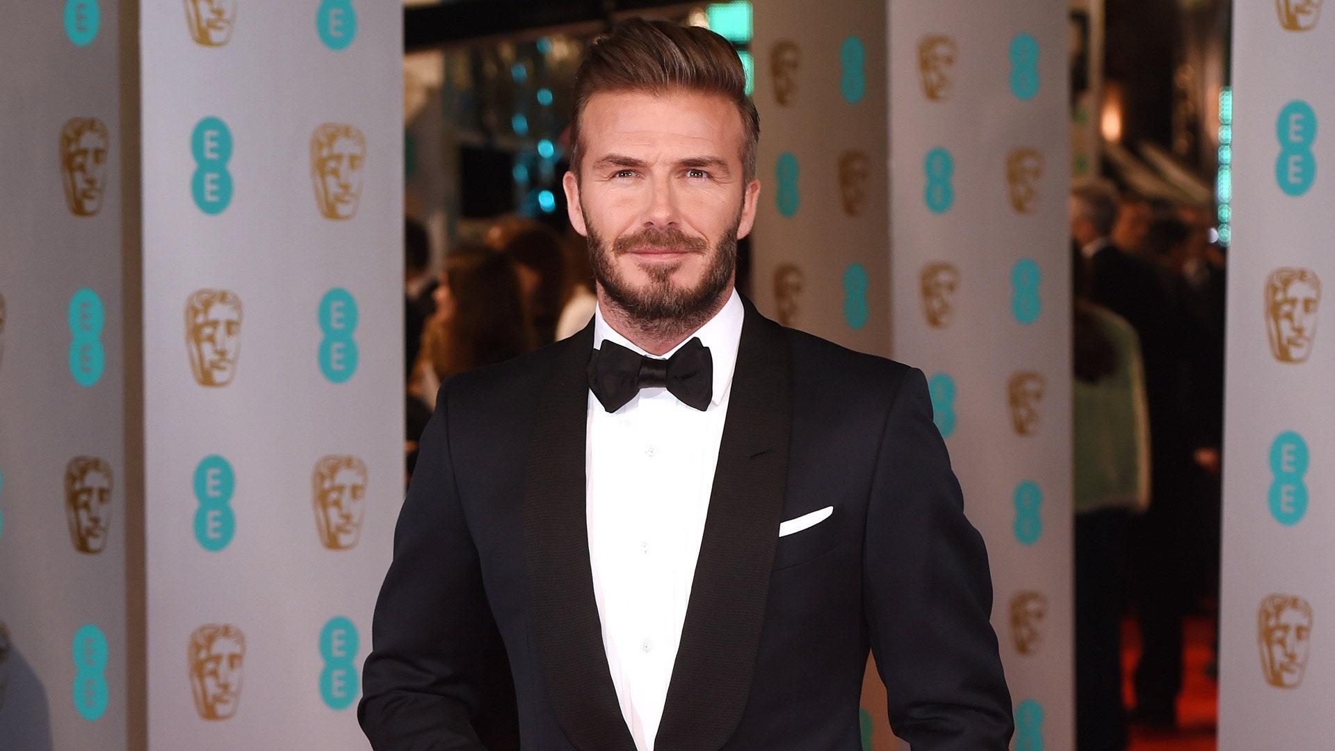 celebrity david beckham in tuxedo hair transplant